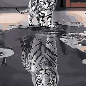 Reflection Cat Tiger  Paint By Number Kit - Paint By Number Shop