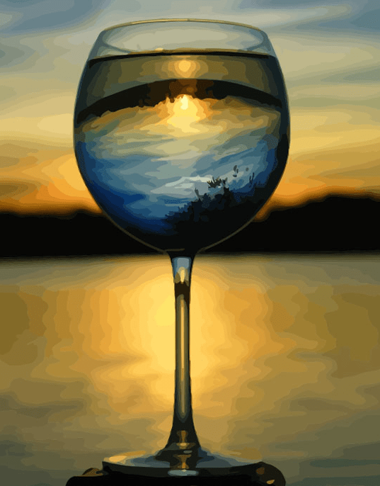 Paint By Numbers Kit Wine Sunset - Paint By Numbers Kit Shop
