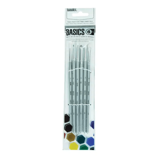 6 Liquitex Basics Short Handled Acrylic Paint Brushes - Paint By Number Shop
