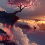 Tree on Volcano and Clouds Paint By Number Kit - Paint By Numbers Kit Shop
