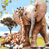 Paint by Numbers Kit Kids Elephant and Giraffe - Paint By Numbers Kit Shop