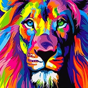 Paint by Numbers Kit Colorful Lion - Paint By Number Shop