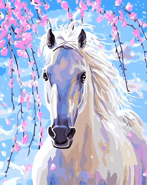 Paint by Numbers Kit White Horse - Paint By Numbers Kit Shop