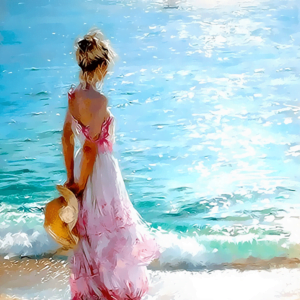 Paint by Number Kit Seaside Girl - Paint By Number Shop