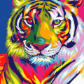 Colorful Abstract Tiger Paint By Number Kit - Paint By Numbers Kit Shop