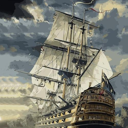 Sailing Ship Paint by Numbers Kit - Paint By Numbers Kit Shop