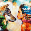 Paint by Numbers Kit Woman & Wolf - Paint By Numbers Kit Shop
