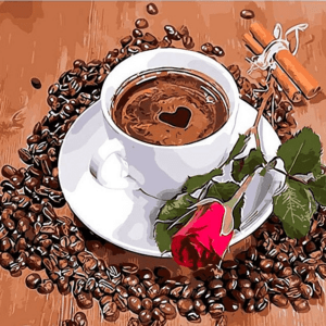 Paint by Numbers Kit Coffee & Rose - Paint By Numbers Kit Shop