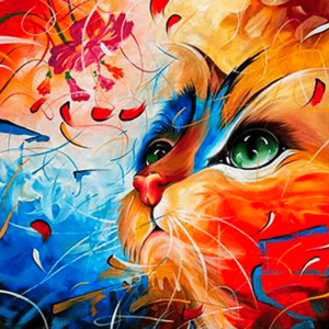 Paint by Numbers Kit Abstract Cat - Paint By Number Shop