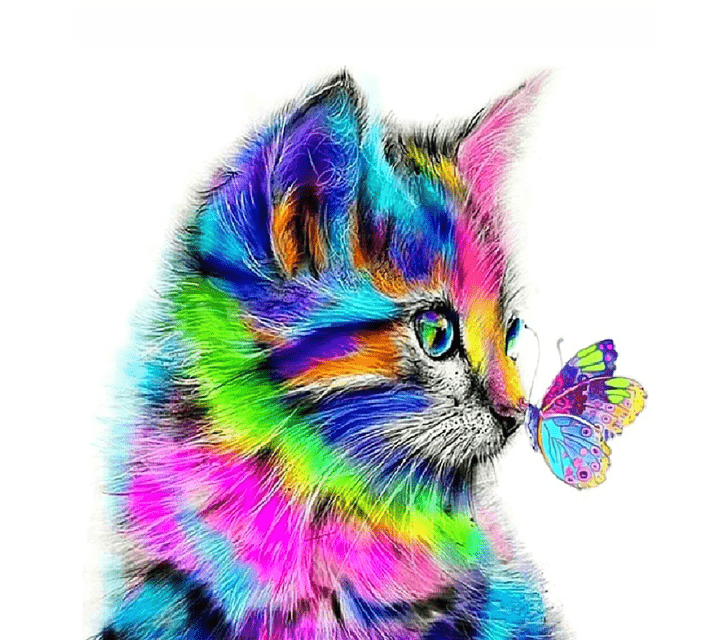 Paint By Numbers Kit Cat Butterfly - Paint By Number Shop