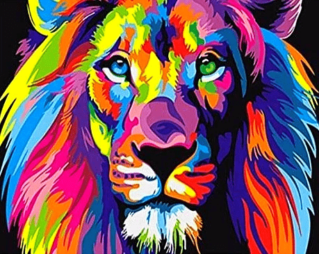 colorful-lion-painting