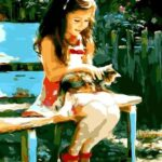 Cute Girl and Cat Paint by Numbers Kit - Paint By Numbers Kit Shop