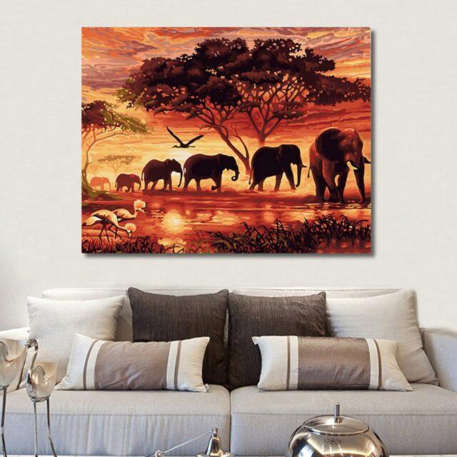 Elephants Sunset Landscape Paint by Numbers Kit - Paint By Number Shop