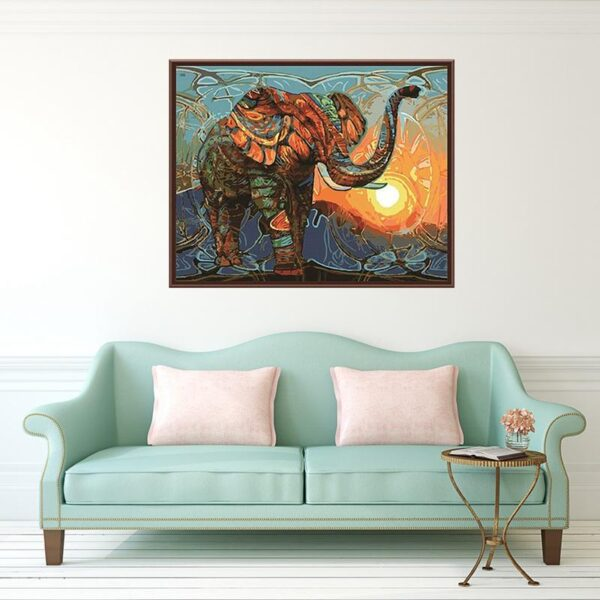 Vintage Abstract Elephant Paint by Numbers Kit - Paint By Numbers Kit Shop