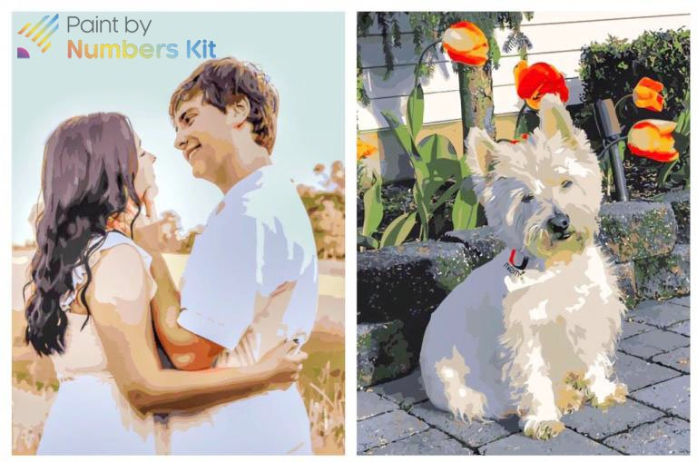 Custom photo to paint by numbers kit